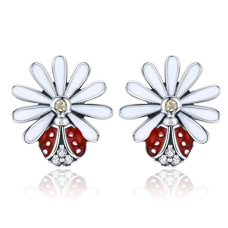 BAMOER Authentic 925 Sterling Silver Daisy Flower Red Ladybug Stud Earrings for Women Fashion Earrings Jewelry Gift SCE459