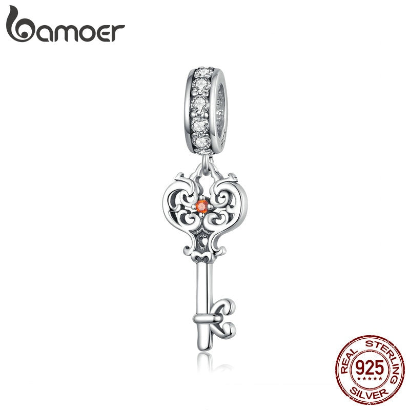 bamoer Key Charm Genuine 925 Sterling Silver Vintage Pattern Pendant Charms for Women Bracelet & Bangle Necklace Pendant BSC092