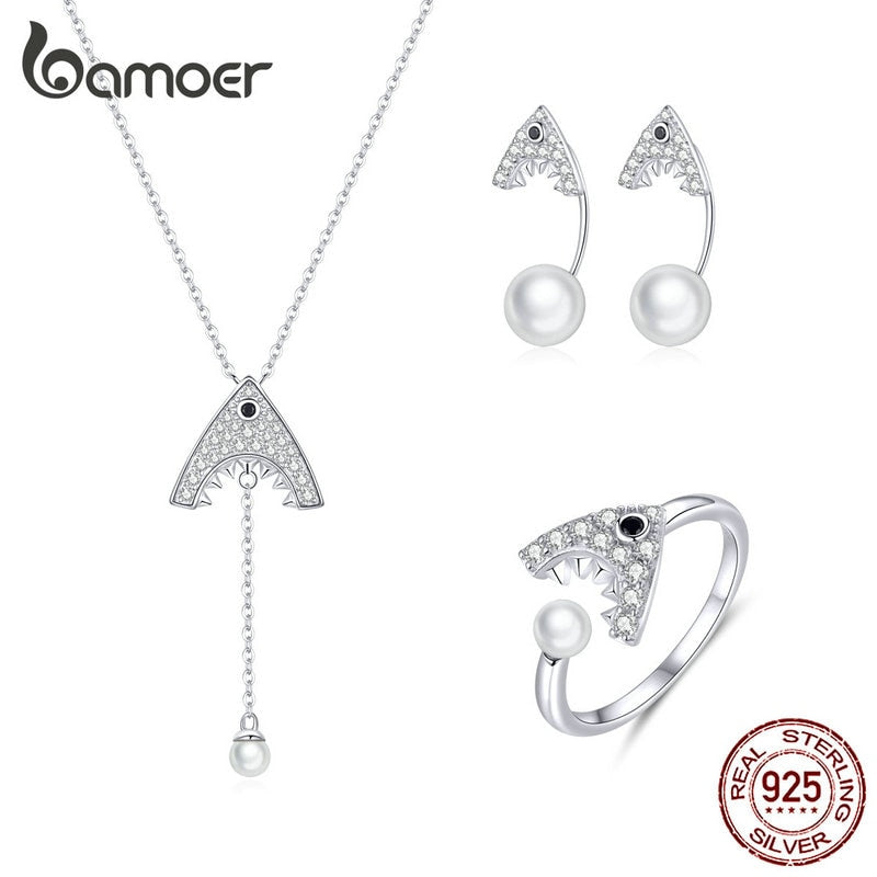bamoer Shark with Pearl Sterling Silver 925 Choker Necklace and Rings for Women Earrings Wedding Statement Jewelry Sets ZHS172