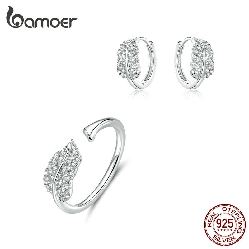 bamoer Sterling Silver 925 Jewelry Sets Leaf Open Finger Rings and Hoop Earrings for Women Female 2019 New Bijoux ZHS174