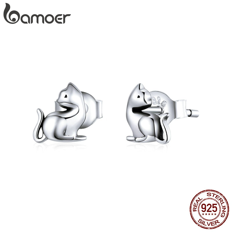 bamoer Silver Cute Cat Kitty Stud Earrings for Girl Anti-allergy 925 Sterling Silver Ear Pins Studs Jewelry Gifts SCE832