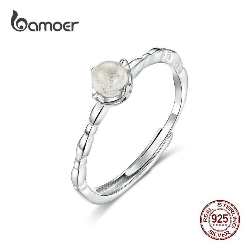 bamoer Natural Moonstone Ring Genuine 925 Sterling Silver Thin Finger Band for Women Bohemia Style Jewelry Gifts SCR536
