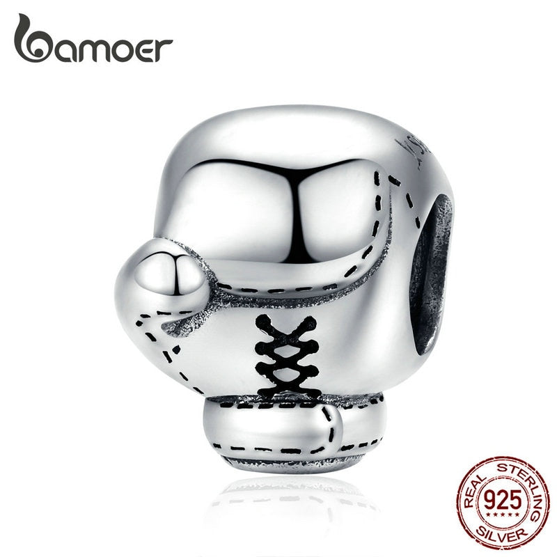 bamoer Sports Boxing  Metal Beads Silver 925 Charm Original fit Bracelet or Bangle European Luxury Brand Jewelry SCC1325