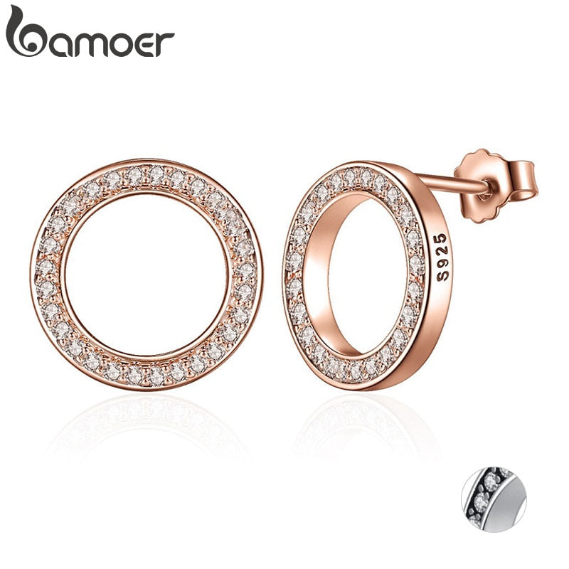 BAMOER Genuine 925 Sterling Silver Forever Rose & Clear CZ Round Circle Stud Earrings For Women Fashion Jewelry PAS484