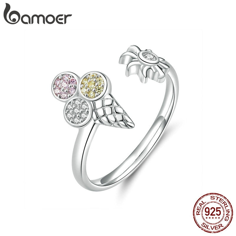 bamoer Summer Ice Cream Adjustable Finger Rings for Women Sterling Silver 925 Crystal Ring Korean Fashion Jewelry SCR529