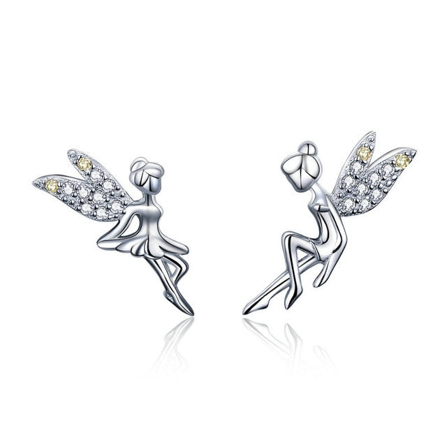 BAMOER Romantic Genuine 925 Sterling Silver Cute Fairy Elevs Exquisite Stud Earrings for Women Luxury Jewelry Making GAE046