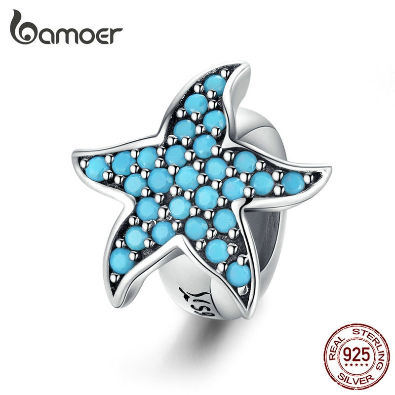 bamoer Blue Starfish Stopper Charm Silver 925 Original Beads fit Women Bracelet & Bangle Zirconia Charm with Silicone SCC1313