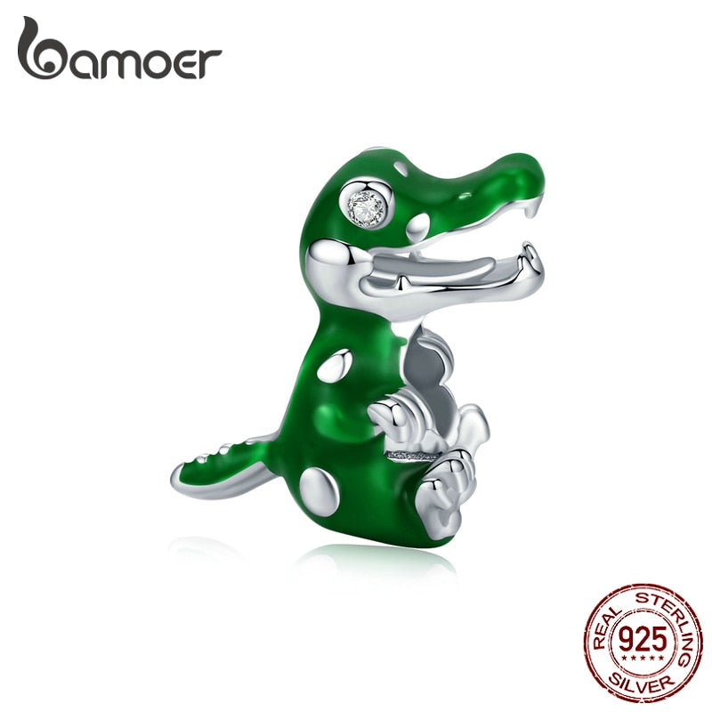 bamoer Baby Crocodile Animal Charm for Original Brand Bracelet 925 Sterling Silver Design Fine Jewelry Accessories BSC190