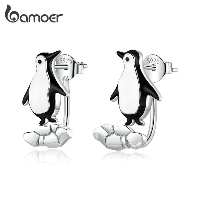 bamoer Authentic 925 Sterling Silver Penguin on Cracked Ice Stud Earrings for Women Original Designer Fine Jewelry BSE348