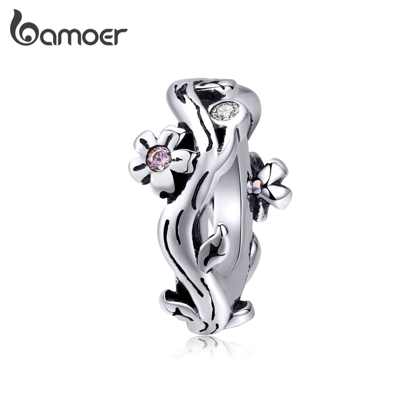 bamoer Sterling Silver 925 Jewelry Sakura Cherry Blossom Tiny Charm fit Original Snake Bracelet Fashion Jewelry Making SCC1448