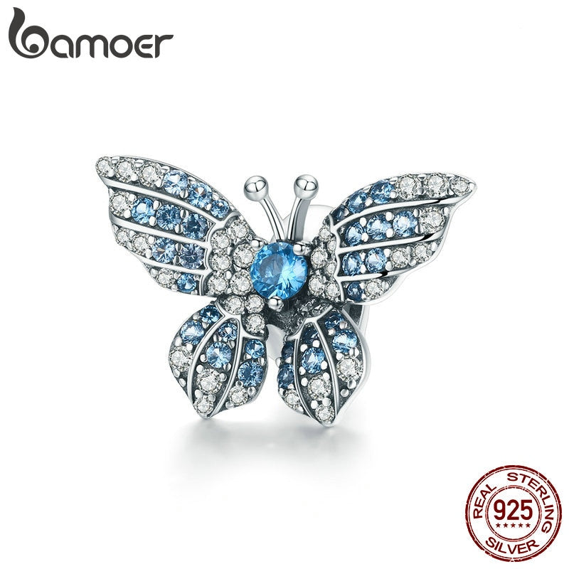 BAMOER 100% 925 Sterling Silver Crystal Blue Zircon Butterfly Beads fit Charm Bracelets Women Necklaces Silver Jewelry BSC061