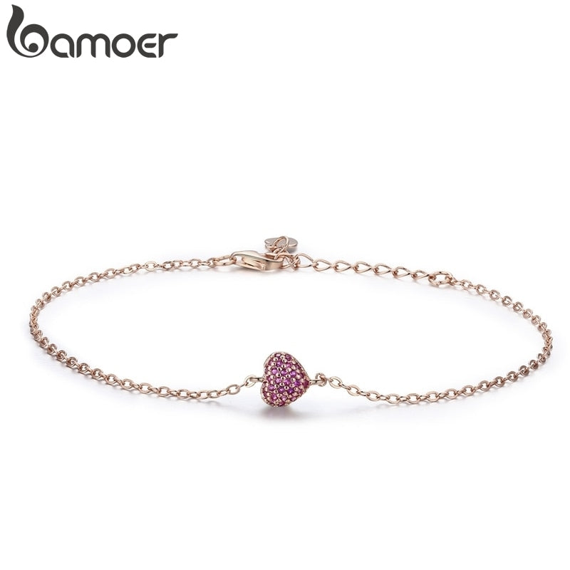 BAMOER 925 Sterling Silver Rose Gold Romantic Heart Chain Link Bracelet Women Adjustable Lobster Clasp Bracelet Jewelry SCB050