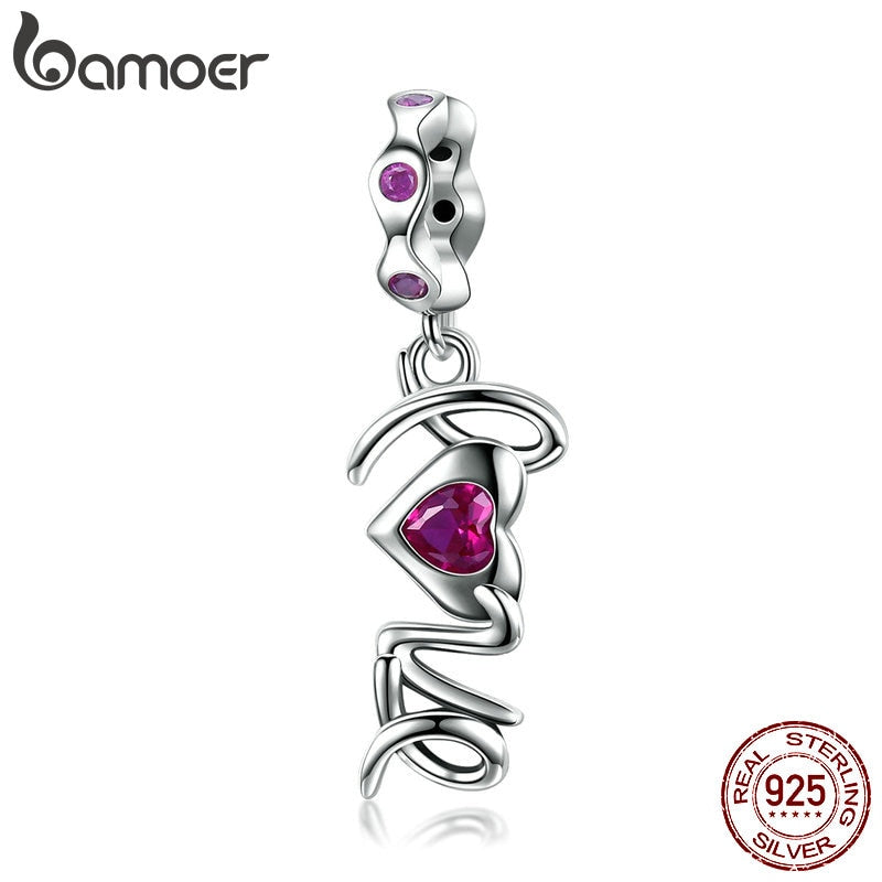 BAMOER Romantic New 925 Sterling Silver Love Letter Heart Pink CZ Pave Beads Charm fit Bracelet Necklaces Jewelry Making SCC946