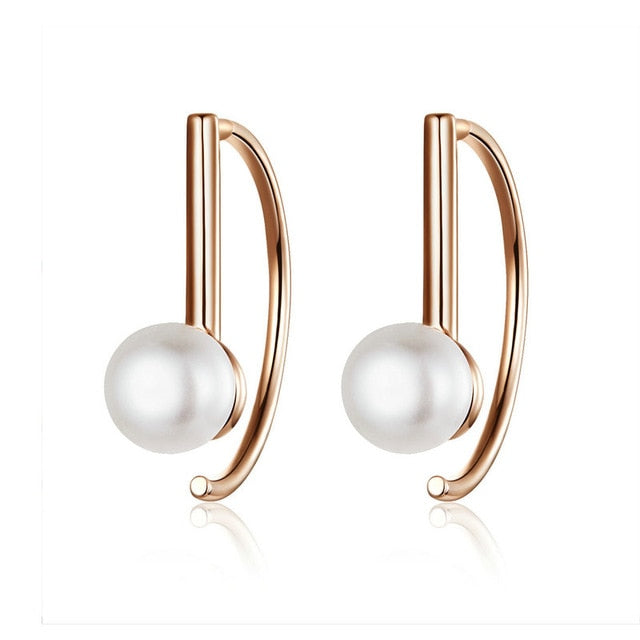 BAMOER Silver 925 Jewelry Earrings Big Circle Geometric Stud Earrings for Women Shell Pearl Earings Female Korea Jewelry SCE604