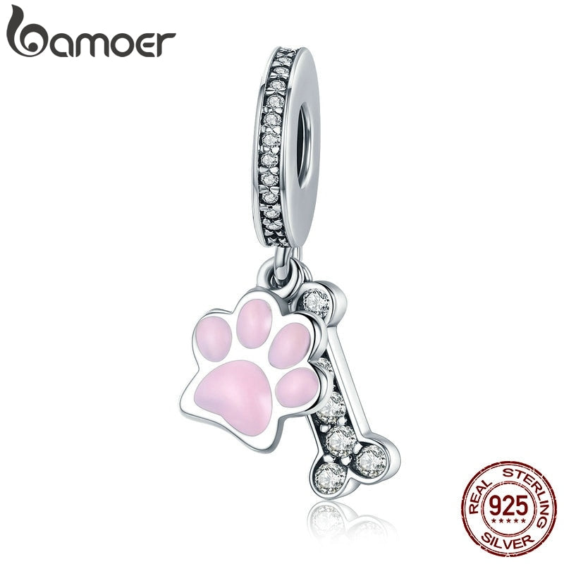 BAMOER Fashion New 925 Sterling Silver Animal Dog Footprint & Dog Bone Pendant Charm fit Women Bracelet DIY Jewelry SCC452