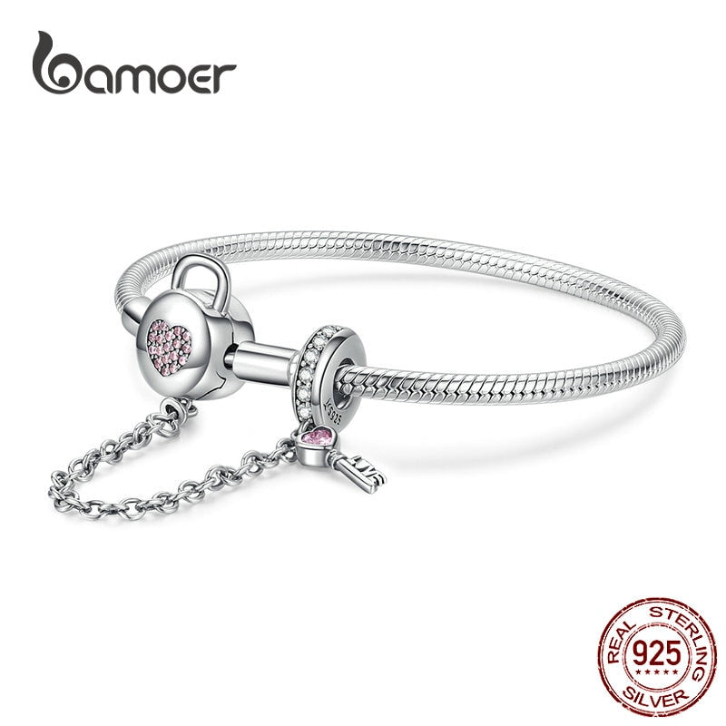 BAMOER Silver Snake Bracelets  925 Sterling Silver Pink CZ Heart Lock and Key Safety Chain Charm Bracelet for Women Gift SCB143