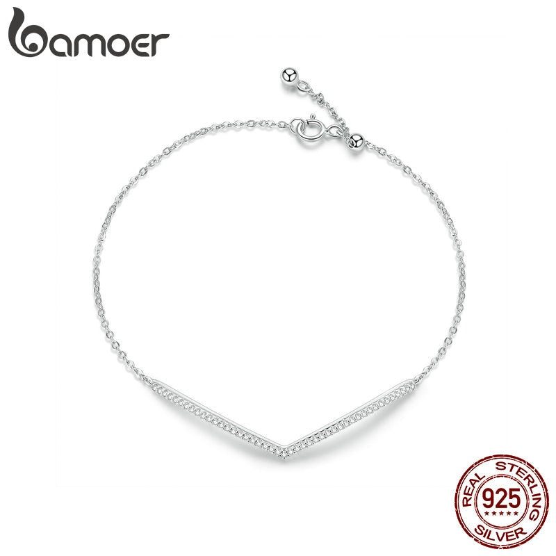 bamoer V Shape Geometric Silver Bracelet Dazzling Clear CZ Chain Bracelets for Women 925 Sterling Silver Wedding Jewelry SCB137