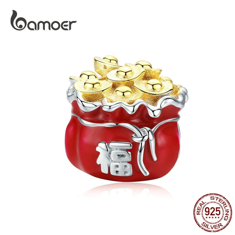 bamoer Lucky Symbol Red Bag Metal Beads for Women Jewelry Making 925 Sterling Silver Enamel Charm fit Original Bracelet BSC100