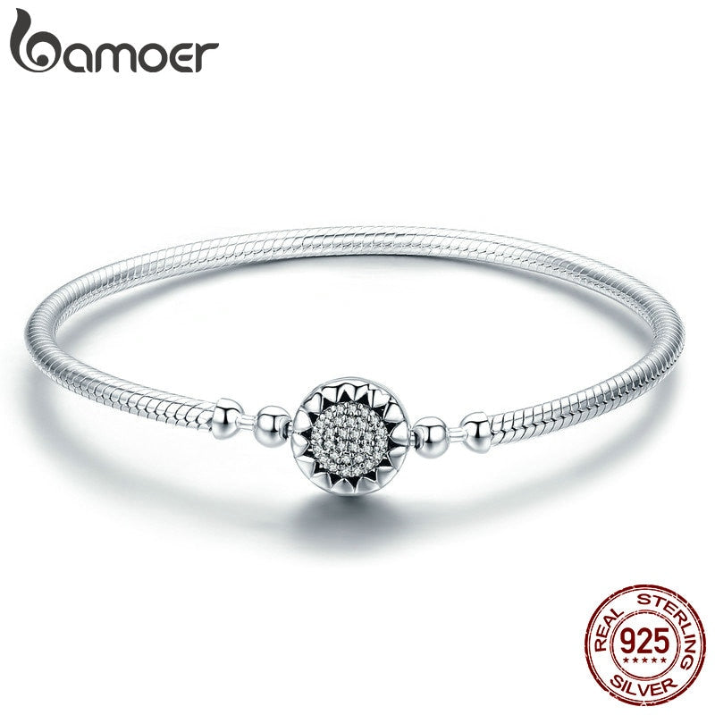 BAMOER 2018 New Authentic 925 Sterling Silver Bright Heart AAA Zircon Women Snake Chain Bracelet Sterling Silver Jewelry SCB059