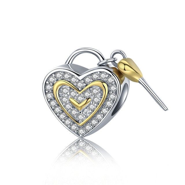 BAMOER 100% 925 Sterling Silver Luminous Heart & Gold Heart Charms Beads fit Charm Bracelet Valentine Day Gift S925 SCC537