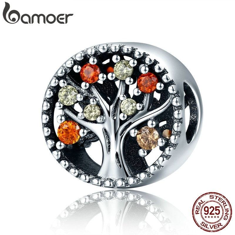 BAMOER Autumn Collection Genuine 925 Sterling Silver Tree of Life Fruitful Autumn Beads fit Women Bracelets DIY Jewelry SCC219