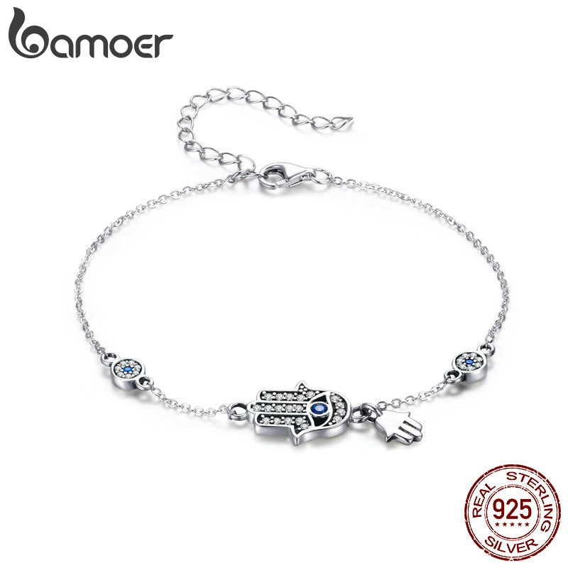 BAMOER Authentic 925 Sterling Silver Hand of Fatima Chain Link Bracelets for Women Lobster Clasp Classic Bracelet Jewelry SCB079