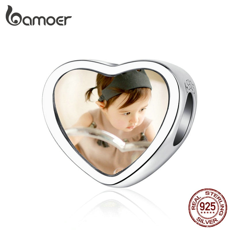 bamoer Customized DIY Heart Beads Custom Photo Charm for Bracelet & Bangle 925 Sterling Silver Jewelry Unique Gift BSC103