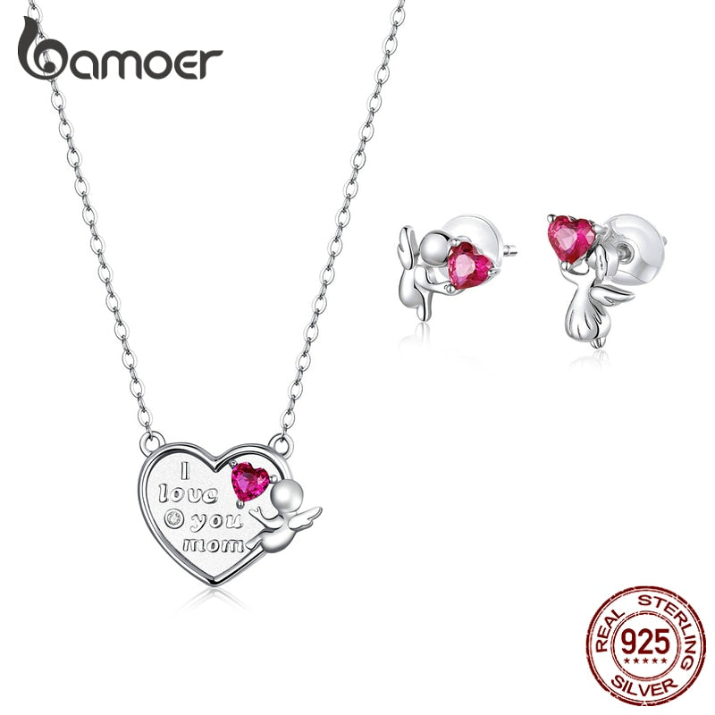 bamoer Angel Stud Earrings and Heart Necklace Jewelry Sets for Women 925 Sterling Silver Heart CZ Fashion Jewelry ZHS196