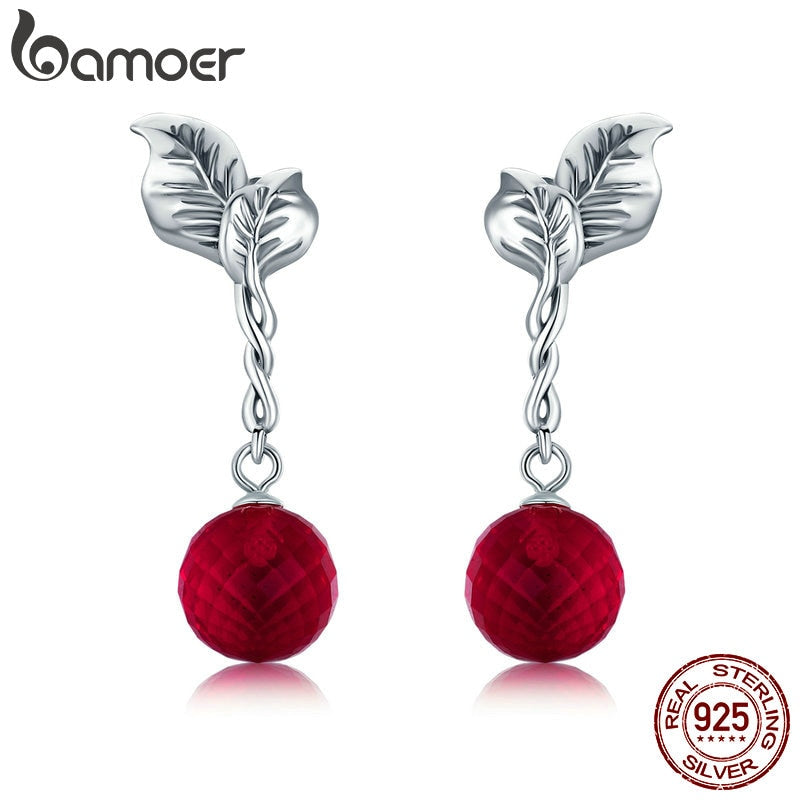 BAMOER Summer Collection 100% 925 Sterling Silver Summer Fruit Red Crystal Drop Earrings for Women Fine Silver Jewelry SCE356