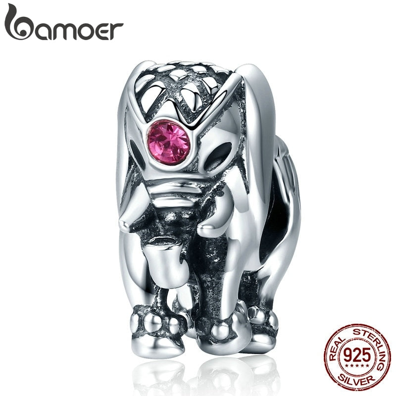 BAMOER Flying Dumbo Beads 100% 925 Sterling Silver Thailand Lucky Elephant Charms fit Women Bracelets Fine Jewelry SCC321