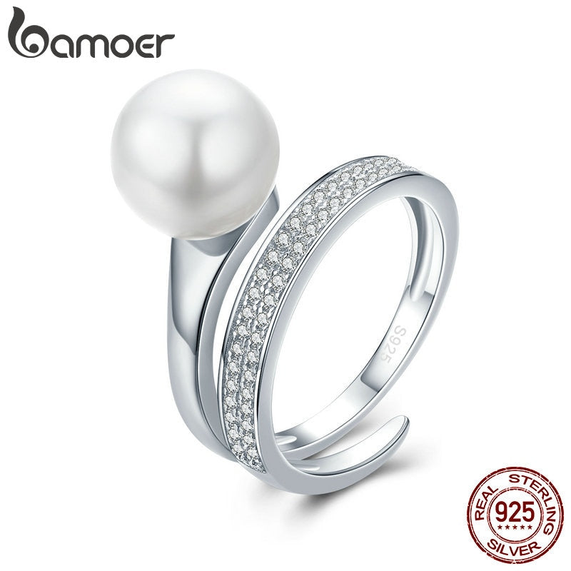 BAMOER Real 100% 925 Sterling Silver Elegant Round Geometric Finger Rings for Women Anniversary Engagement Ring Jewelry SCR231