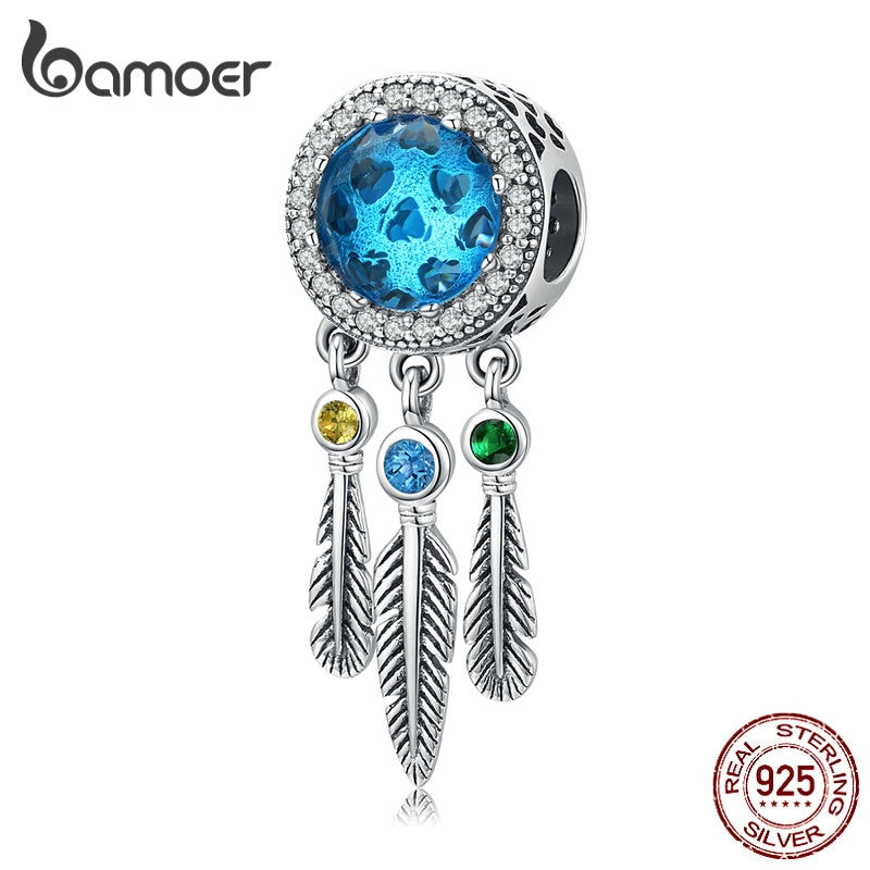 bamoer Dream Catcher Feather Long Glass Beads Charm fit Original 925 Women Bracelet Sterling Silver 925 Jewelry Making SCC1384