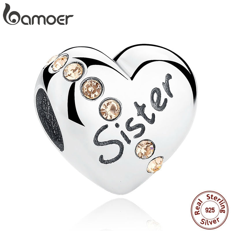 BAMOER New Trendy 925 Sterling Silver Sister Floating Heart Charm fit Bangles Jewelry Making Family Gift SCC008