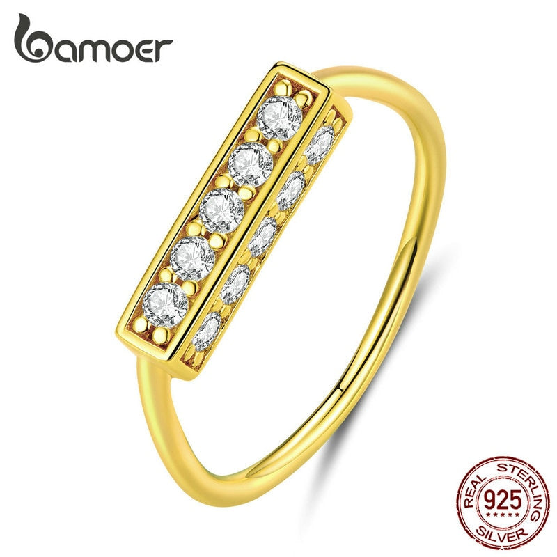 bamoer Authentic 925 Sterling Silver Clear CZ Finger Ring for Women Geometric Design Luxury Wedding Fine Jewelry Band BSR085
