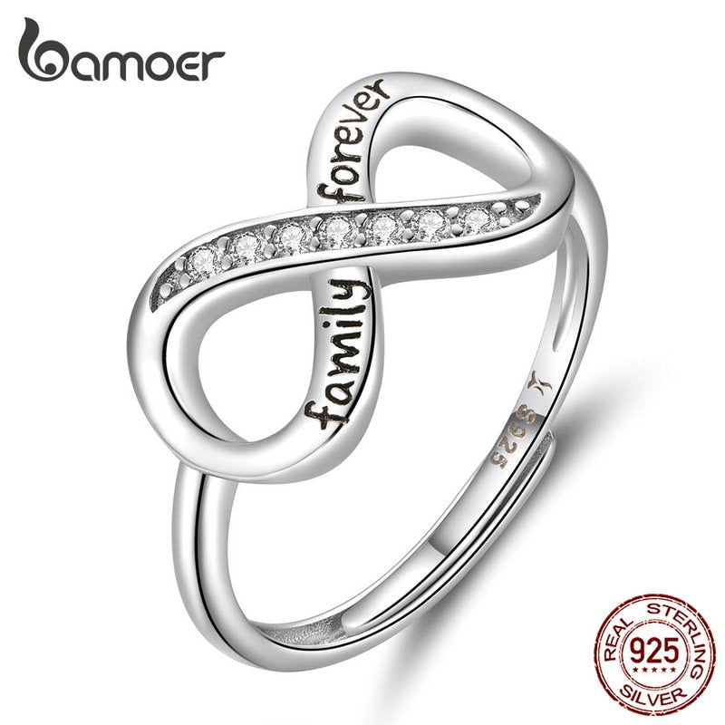 bamoer Infinity Love Family Forever Finger Ring Adjustable Free Size Rings 925 Sterling Silver Fashion Clear CZ Jewelry SCR579