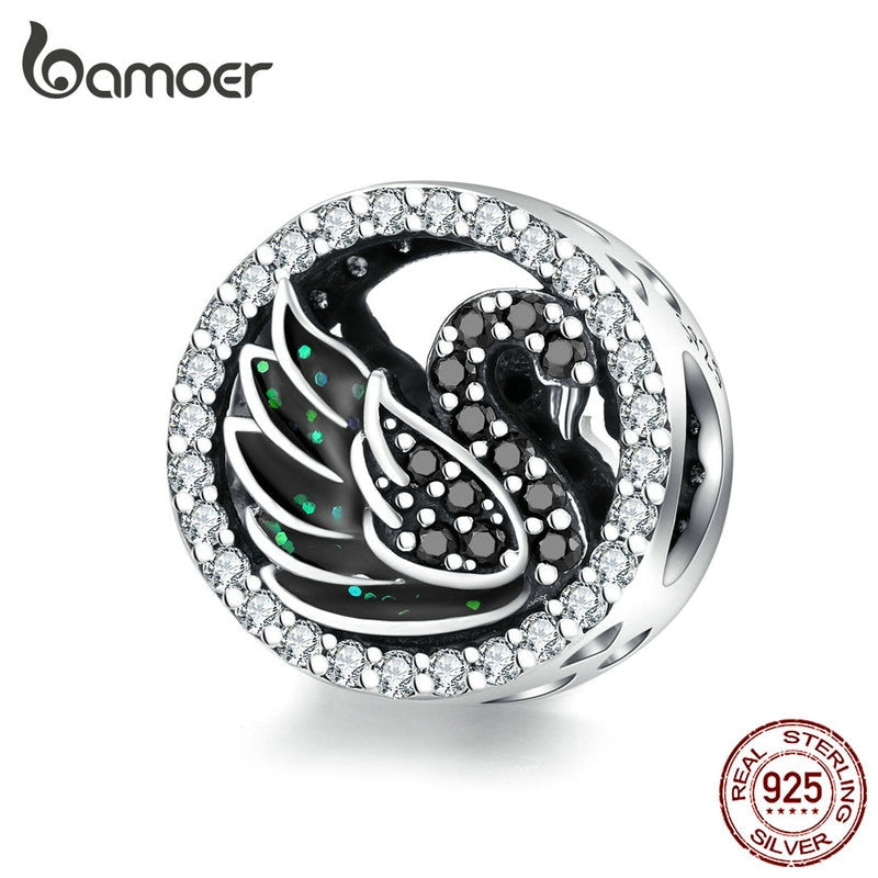 bamoer Black Swan Round Beads for Women Jewelry Making Silver 925 Original Charm fit Bracelet & Bangle Design Jewelry SCC1342