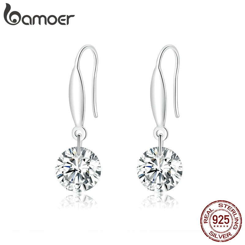 bamoer 925 Sterling Silver Zirconia Design Drop Earrings for Women Dangle Earing Clear CZ Fashion Statement Jewelry  BSE212