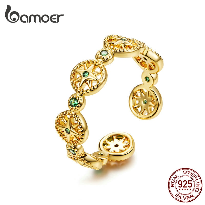 BAMOER Adjustable Silver Ring 925 Stelring Silver Gold Compass Stackable Finger Rings for Women Free Size Silver Ring SCR518