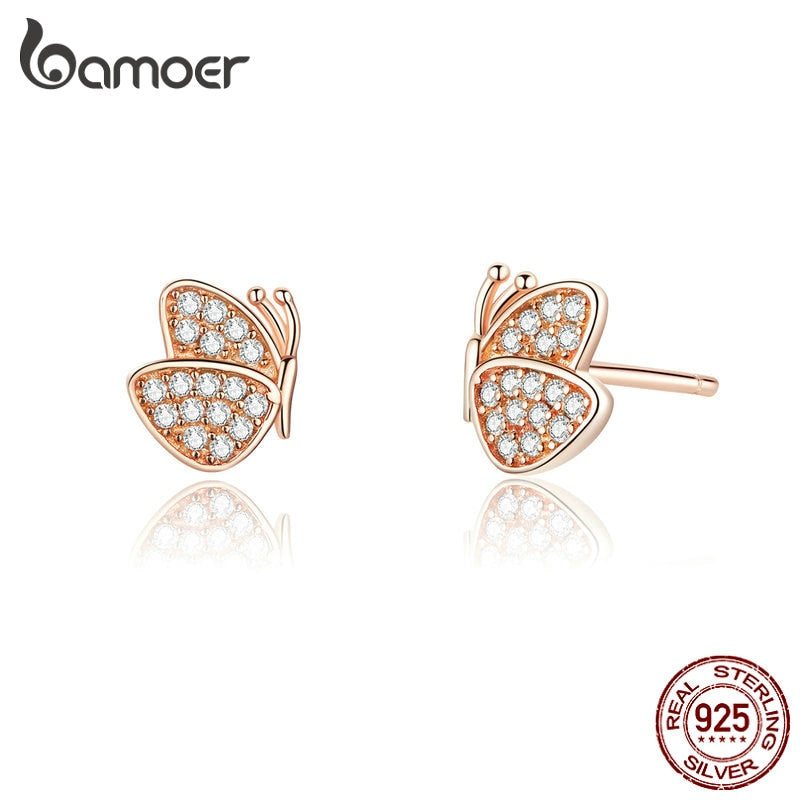 bamoer 100% Sterling Silver 925 Rose Gold Color Butterfly Stud Earrings for Women Wedding Statement Jewelry Brincos SCE776
