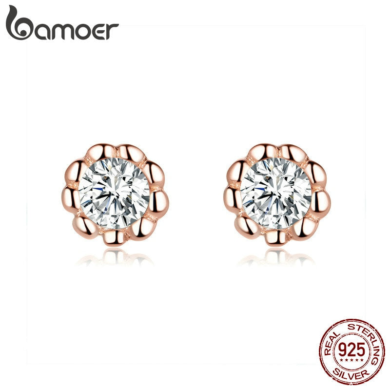 bamoer Basic Round Rose Color Stud Earrings for Women Clear Cubic Zirconia 925 Sterling Silver Wedding Statement Jewelry BSE219