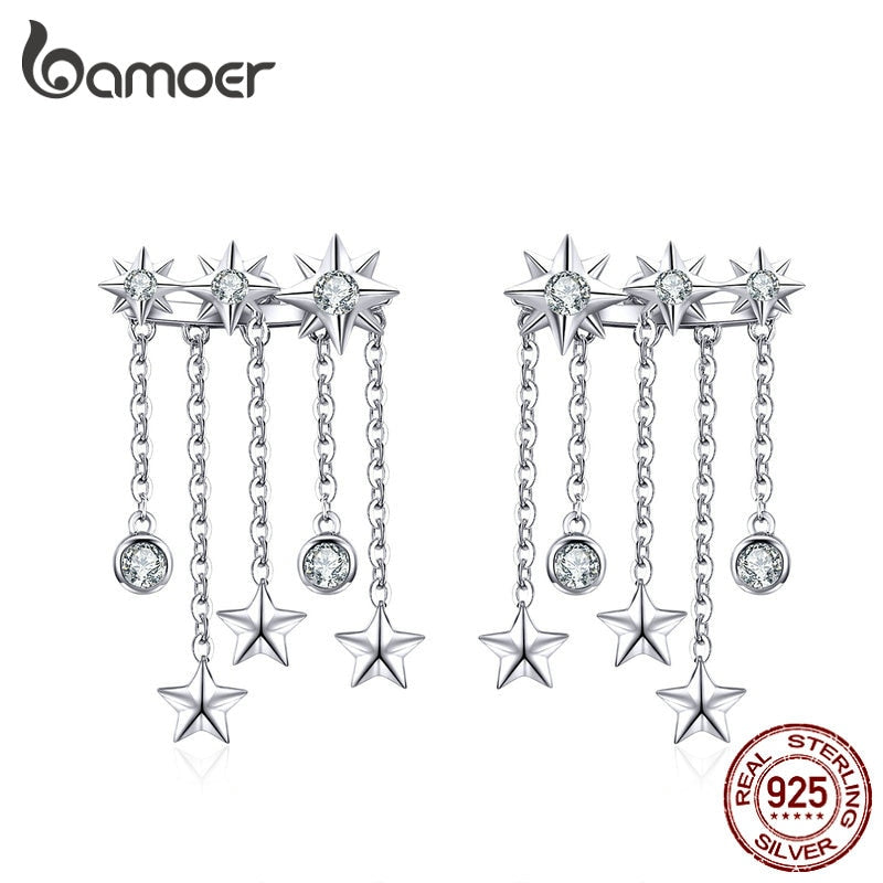 bamoer Stars Taseel Long Earrings for Women Weddding Statement Jewelry Authentic 925 Sterling Silver Fashion Jewlery SCE700
