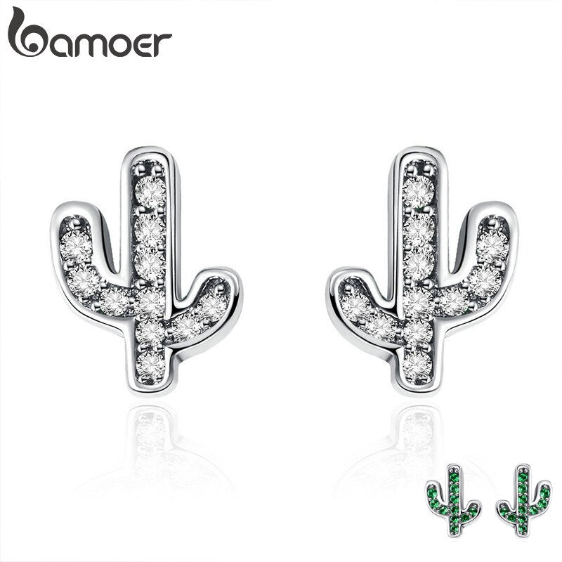 BAMOER Spring Collection 100% 925 Sterling Silver White & Green Cactus Stud Earrings for Women Silver Jewelry Bijoux  SCE286