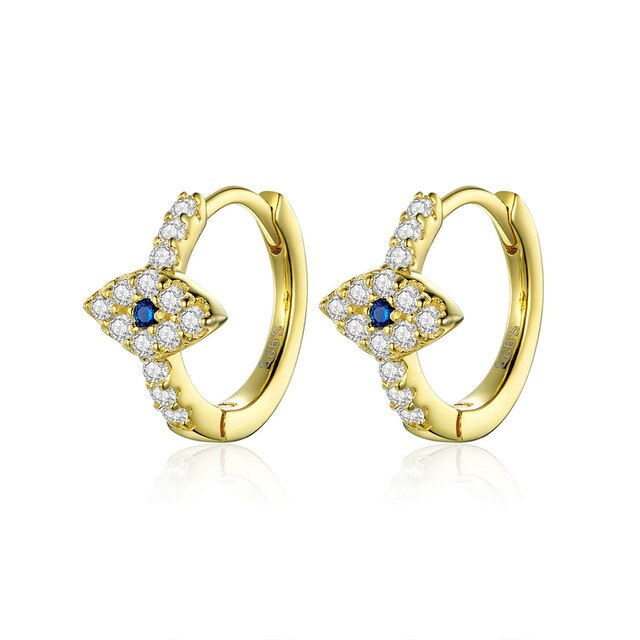 bamoer Authentic 925 Sterling Silver Jewelry Bright Eye Hoop Earrings for Women Clear Sparkling CZ Fashion Brincos SCE783