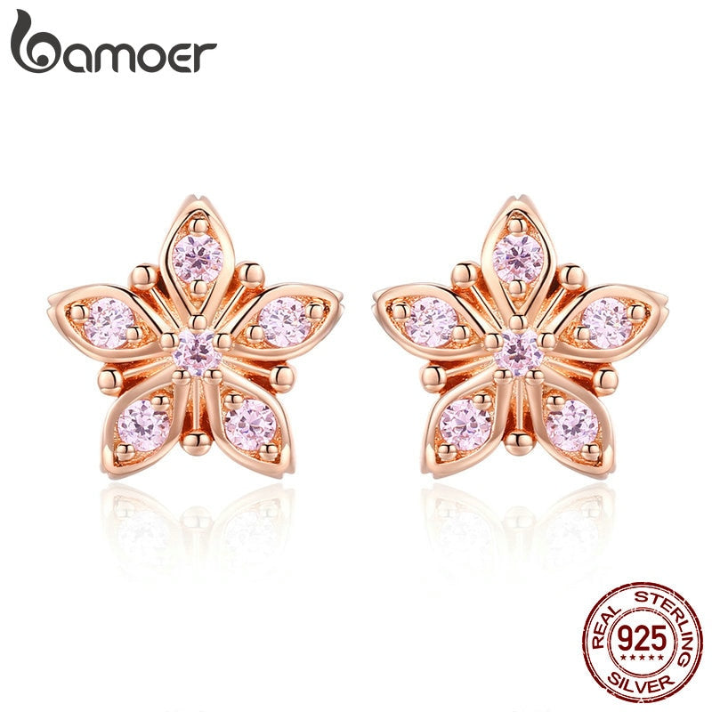 BAMOER Genuine 925 Sterling Silver Sakura Pink Flower Exquisite Stud Earrings for Women Wedding Party Jewelry Gift BSE034