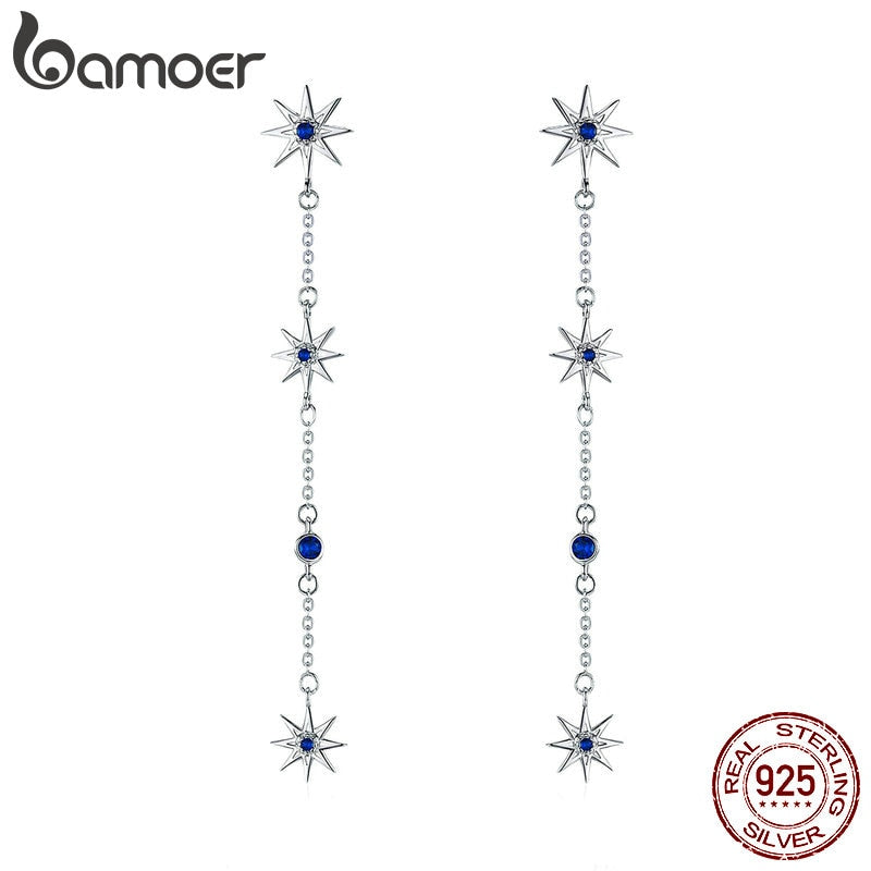 BAMOER Fashion 925 Sterling Silver Shining Star Clear Zircon Long Chain Drop Earrings for Women Wedding Earrings Jewelry BSE060