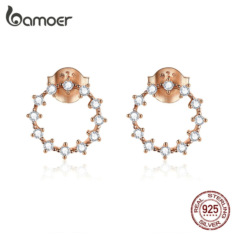 bamoer Silver 925 Stud Earrings for Women Rose Gold Color 925 Sterling Silver CZ Round Ear Stud Wedding Statement Jewelry BSE323