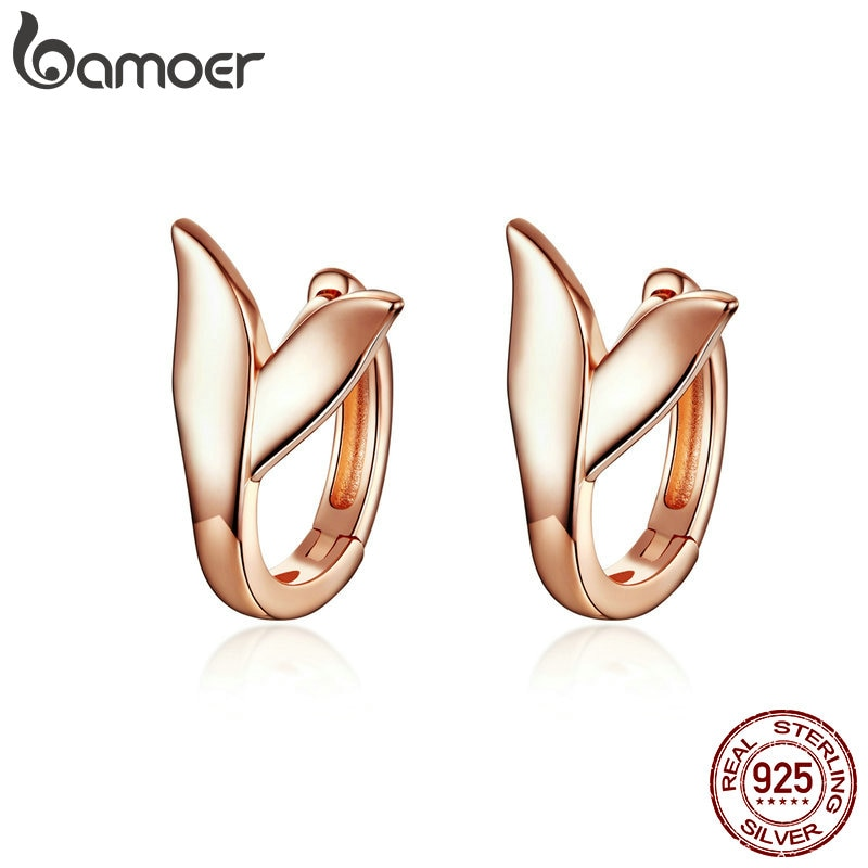 BAMOER Earrings Silver 925 Women Rose Gold Color Dolphin Tail Small Hoops Earing Sterling Silver Party Jewelry BSE078