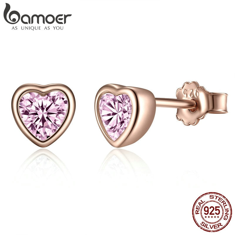 BAMOER 100% 925 Sterling Silver 3 Colors Heart Dazzling Pink CZ Stud Earrings for Women Sterling Silver Jewelry Gift PAS452-J