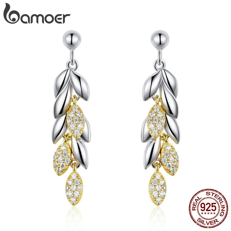 BAMOER 925 Sterling Silver Unique Wheat Drop Earrings for Women Gold Color Wheat Leaves Earrings Sterling Silver Jewelry BSE025
