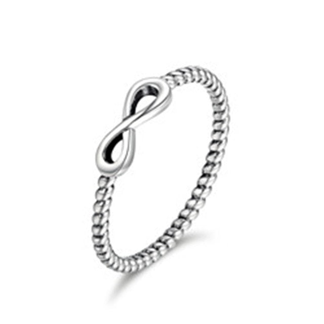 BAMOER Hot Sale 100% 925 Sterling Silver Trendy Infinity Elegant Finger Rings for Women Wedding Engagement Jewelry Gift SCR094